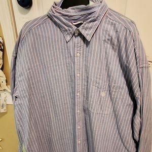 Chaps blue and pink stripe long sleeve